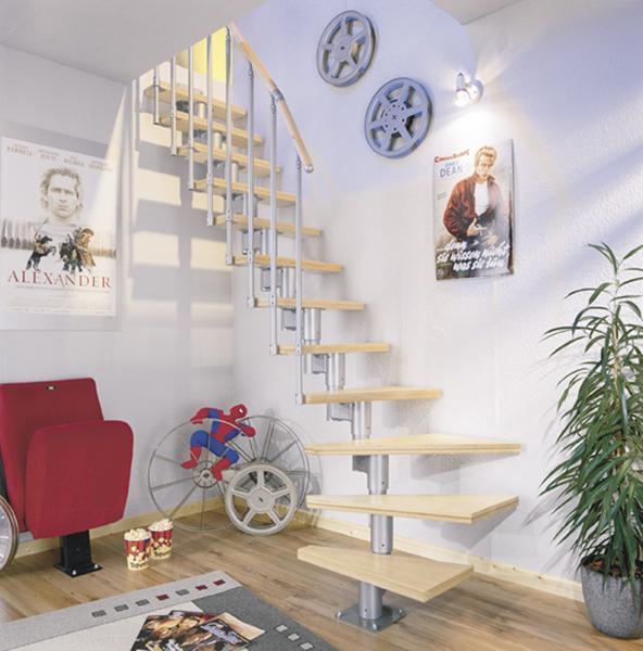 Díly zábradlí pro 1 schod pro DOLLE DUBLIN - Bříza multiplex