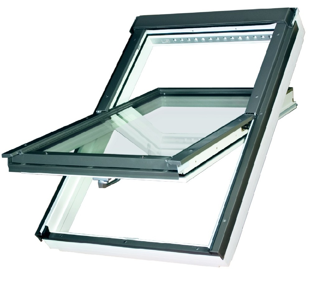 Střešní okno dřevěné bílé FAKRO FTU-V U3 55x78